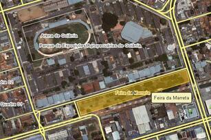 Mapa indica localização da Feira da Marreta