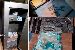 No cumprimento dos mandados, foram apreendidos dinheiro e arma